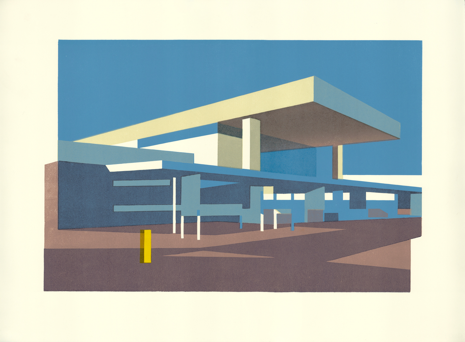 Linocut of the modernist Coventry Station